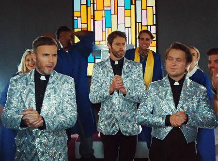 "Grupas ""Take That"" dalibnieki kā garīdznieki"