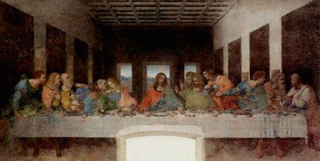 Jēzus un Viņa divpadsmit mācekļi sēž pie galdina-divdesmit-sesam-personamGaldiņa divdesmit sešām personām