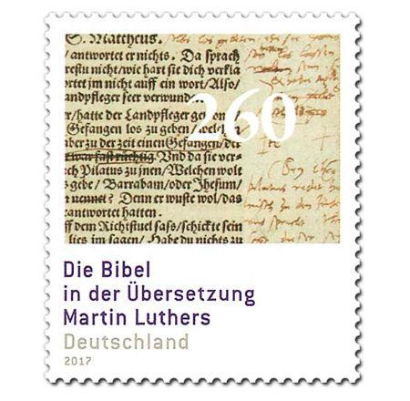 pastmarka ar Lutera Bībeles tulkojumu
