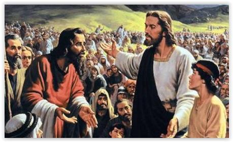 daudz ļaužuap Jēzu