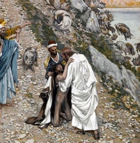 cūkas iedzīšana jūrā Jēzus un dēmonu apsēsts vīrs