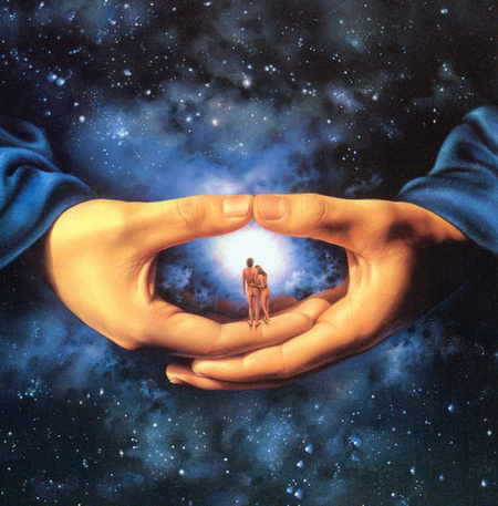 Dievs aptver debesis ar savām rokām
