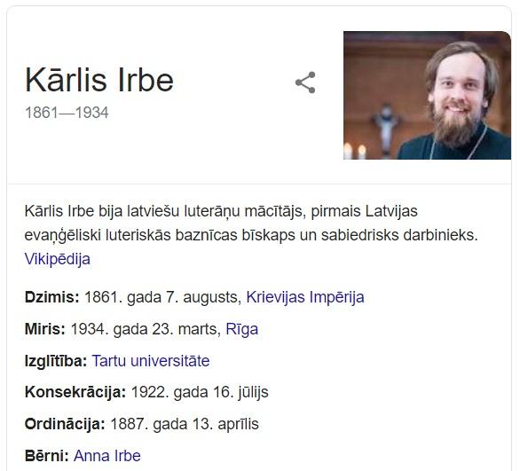 Google.lv ekrānšāviņš Kārlis Irbe