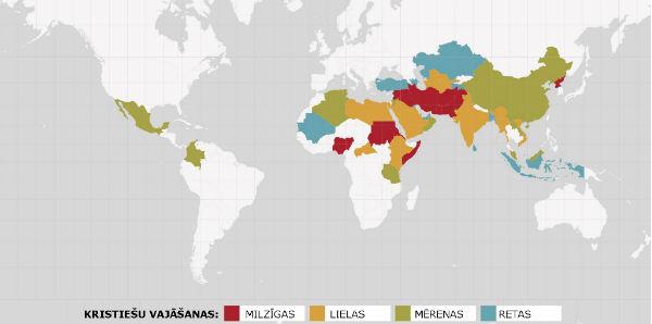 Valstis, kurās būt kristietim ir visgrūtāk