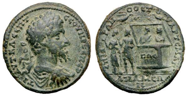 Noasa škirsts uz Romas impērijas monētas