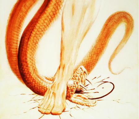 sadragāt čūskas galvu