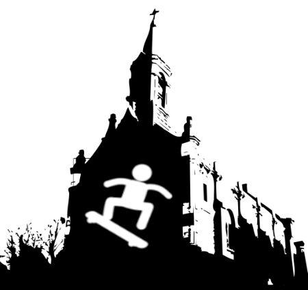skeitbords ienāk Llaneras Romas katoļu Svētās Barbaras baznīcā